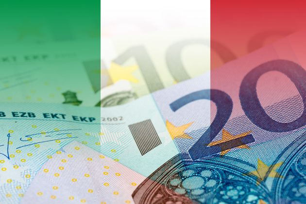 italy flag with euro banknotes mixed