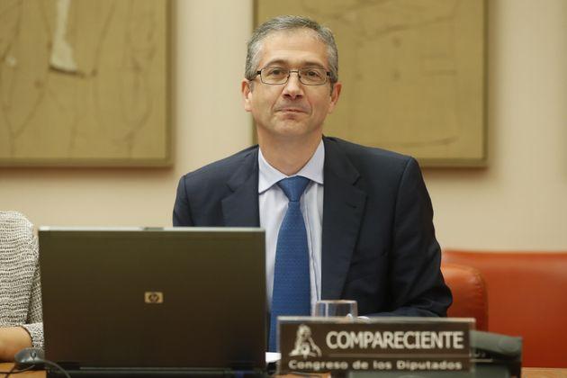 Pablo Hernández de Cos, gobernador del Banco de España, en una comparecencia en el