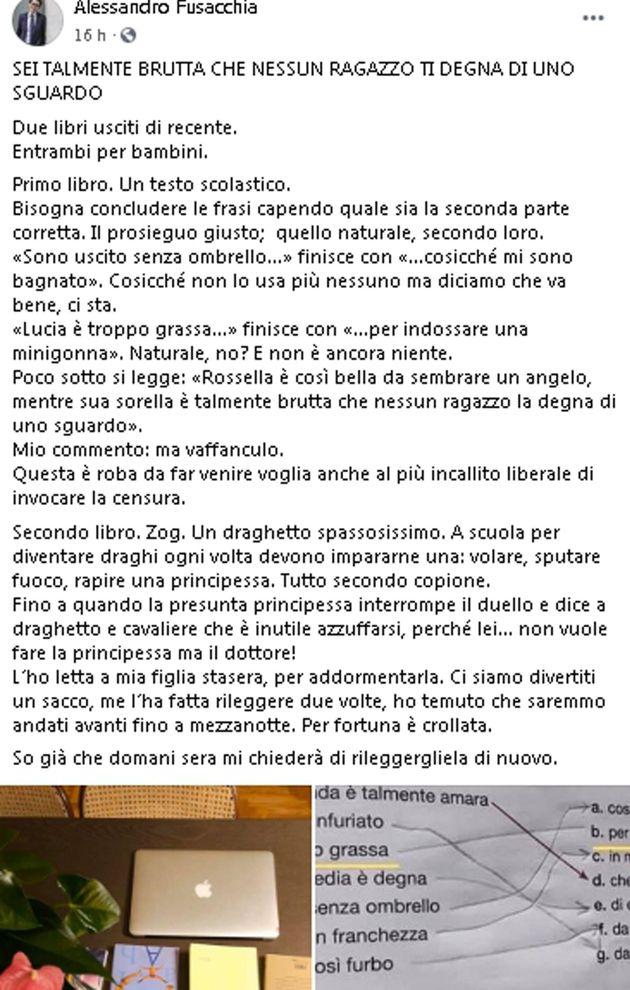 Il post tratto dal profilo Facebook del deputato Alessandro