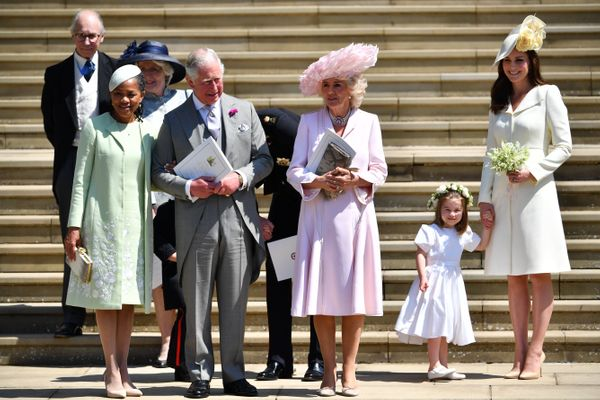 Doria Ragland, Prince Charles, Camilla, Duchess of Cornwall, and Kate Middleton holding Charlotte's hand as they leave the ch