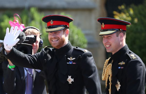 Prince Harry and his best man and brother, Prince William, arrive at St. George's Chapel.