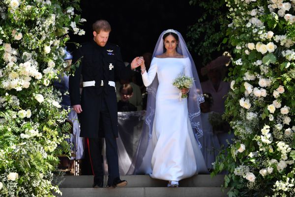 Making their grand entrance as a married couple.