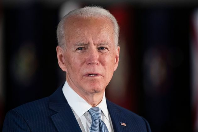 Democratic presidential candidate former Vice President Joe Biden speaks to members of the press at the...