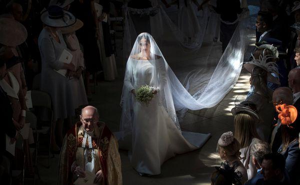 Meghan walks down the aisle in St. George's Chapel.