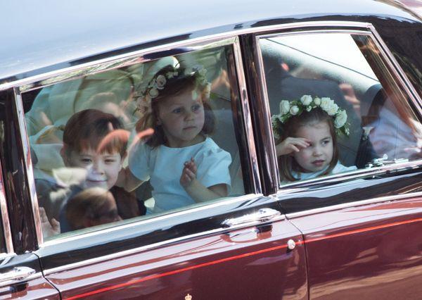 Jasper Dyer, Princess Charlotte (right) and Florence van Cutsem get ready for their wedding duties.