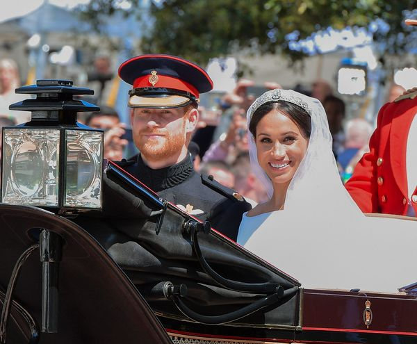 The Duke and Duchess of Sussex leave Windsor Castle in the Ascot Landau carriage during a procession after their nuptials.&nb