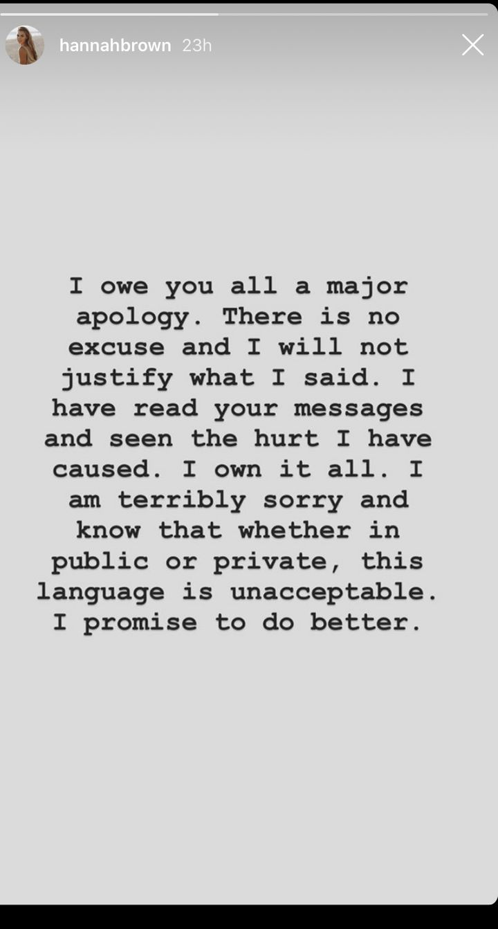 Hannah Brown's apology in an Instagram Story.