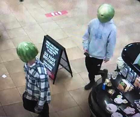 Two men wearing watermelon rinds robbed a convenience store in Louisa, Virginia.