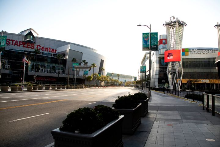 The empty streets outside the Staples Center and Microsoft Theater at LA Live on April 21 in Los Angeles, California.