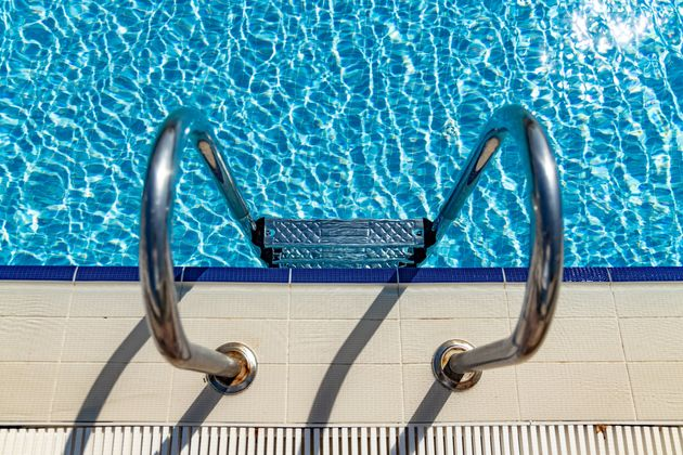 Grab bars ladder in the swimming
