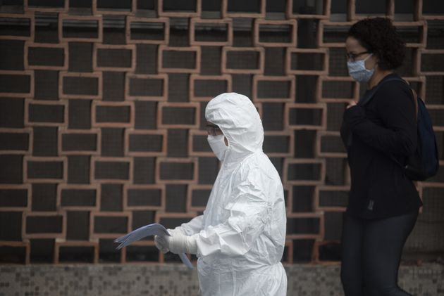 People wearing protective suit in a hospital in Rio de Janeiro, Brazil on May 14,