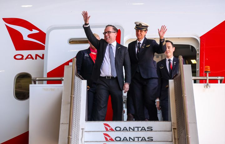 Qantas CEO Alan Joyce after landing the 'Project Sunrise' flight November 15, 2019 in Sydney, Australia - a London to Perth project that has been put on the back burner while the airline concentrates on reopening interstate travel in Australia. (Photo by David Gray/Getty Images for Qantas)