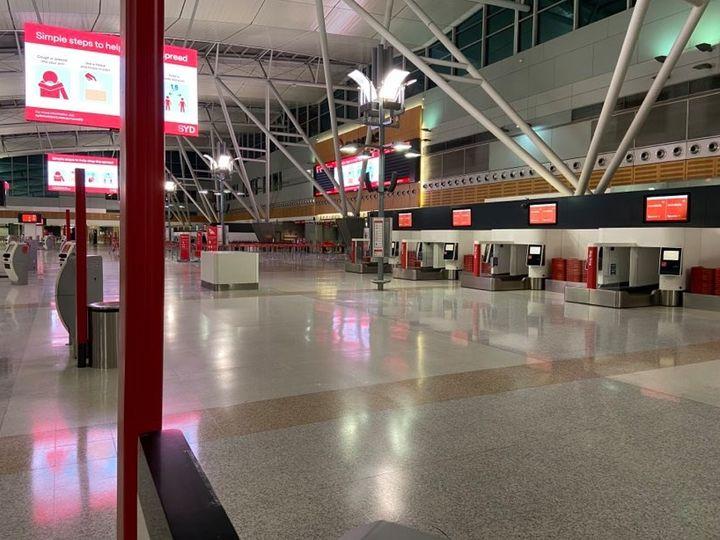 An empty Sydney airport.