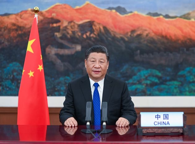 Chinese President Xi Jinping delivers a speech at the opening of the 73rd World Health Assembly via video...