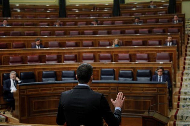 El presidente del Gobierno, Pedro Sánchez, en una sesión de control el pasado 29 de abril en el