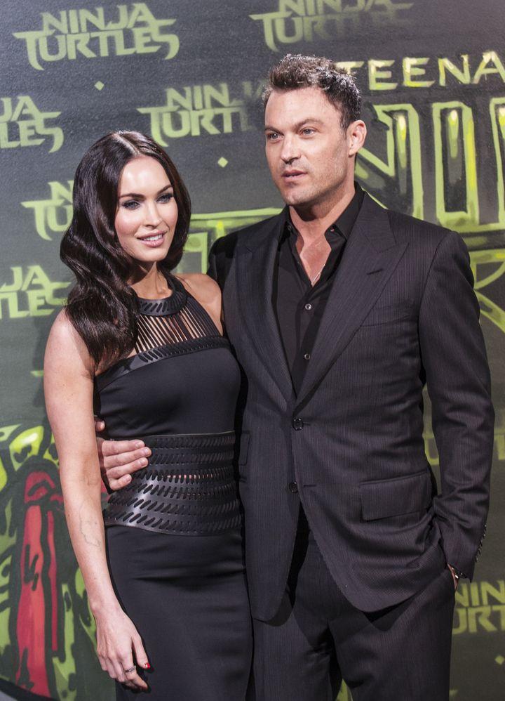 "Megan Fox and husband Brian Austin Green attend the German premiere of ""Teenage Mutant Ninja Turtles"" in 2014."