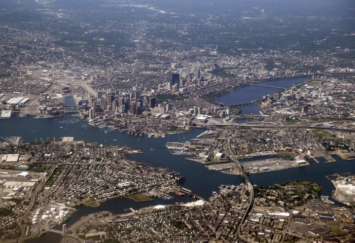 An aerial view of the greater Boston area on June 4, 2013. The city proper is small compared with its surrounding suburbs.