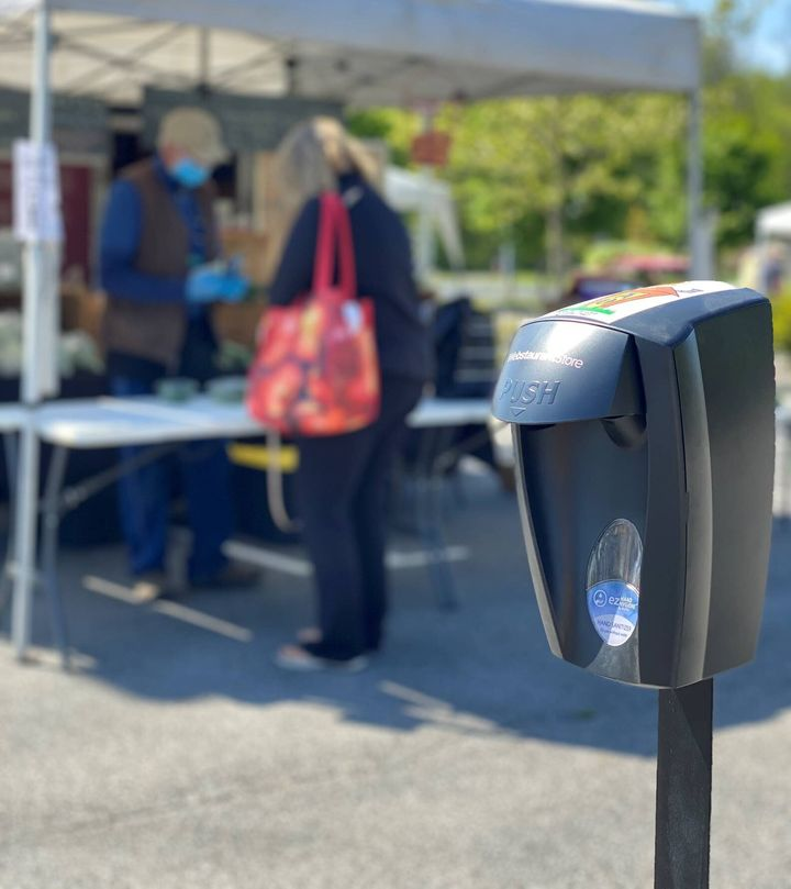 Hand sanitizing stations are easy to find at the Lafayette and West Lafayette farmers markets in Indiana.