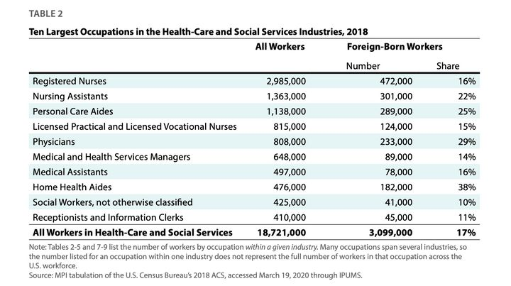 There are nearly 3 million foreign-born professionals in the American health care and social services industries, many of who