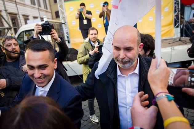 Italian Foreign Minister Luigi Di Maio (L) and Vito Crimi (R) attend a rally called by Five Stars Movement...