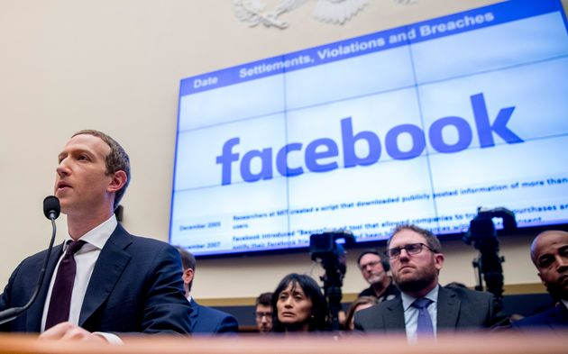 File-This Oct. 23, 2019, file photo shows Facebook CEO Mark Zuckerberg testifying before a House Financial...
