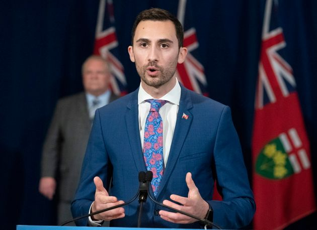 Education Minister Stephen Lecce answers questions at the daily briefing on COVID-19 at Queen's Park...