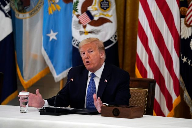 President Donald Trump speaks during a cabinet meeting in the East Room of the White House on May 19,