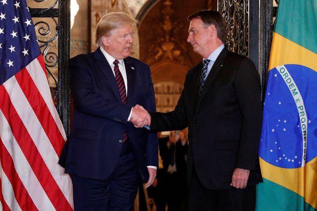 Donald Trump e Jair Bolsonaro se encontram na Flórida em março deste