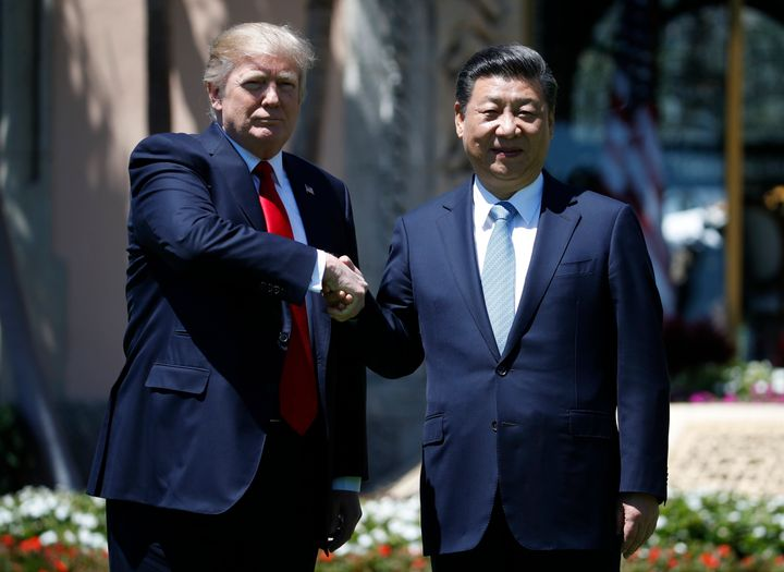 U.S. President Donald Trump and Chinese President Xi Jinping shake hands after a bilateral meeting at Mar-a-Lago on April 7,