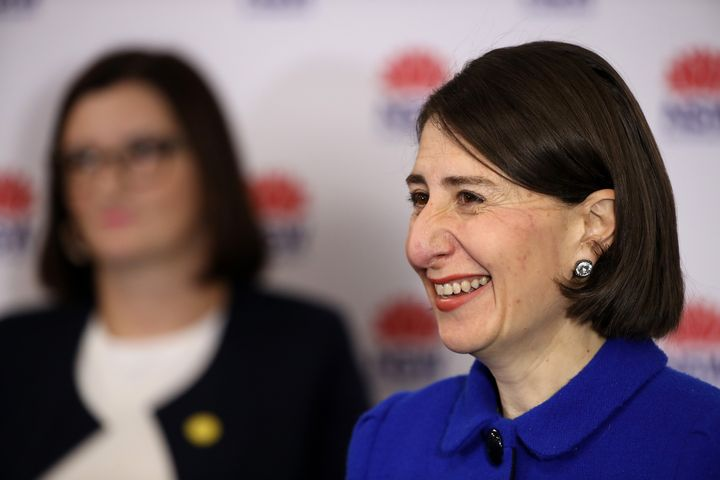 New South Wales NSW Premier Gladys Berejiklian talks to the media at a press conference. (Photo by Mark Kolbe/Getty Images)