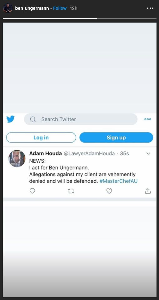 Ben Ungermann shared a tweet published by lawyer Adam Houda on his Instagram story on