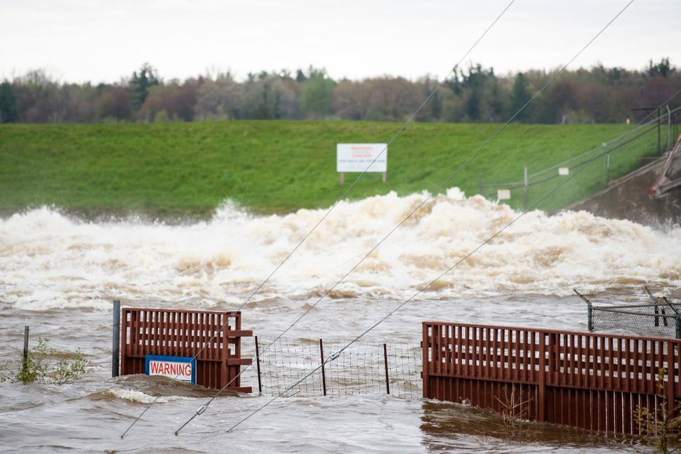 A view of the flooded area near the Sanford Dam on Tuesday, May 19, 2020. Residents were told to evacuate due to the dams on