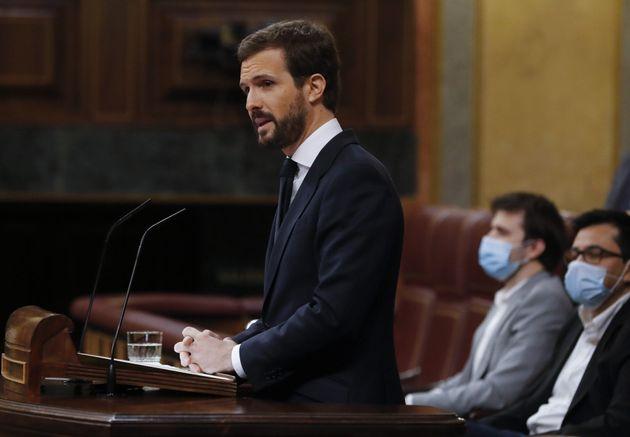 El líder del PP, Pablo Casado, este miércole en el