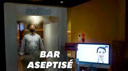 Une machine désinfecte entièrement les clients de ce bar