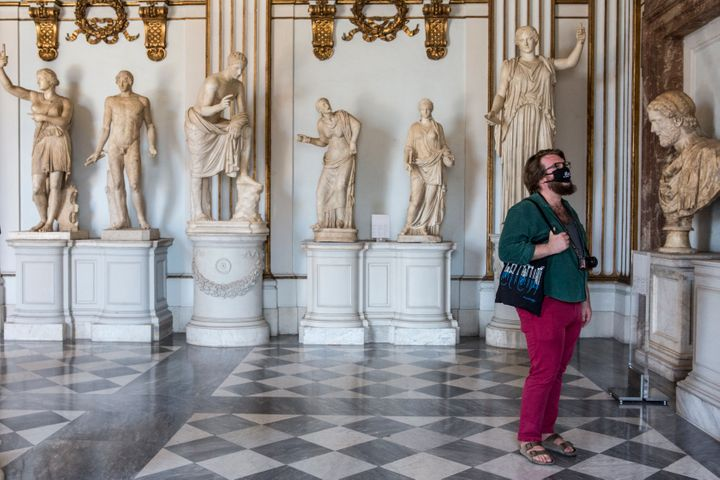 A visitor wearing a mask at the newly reopened Capitoline Museums on May 19 in Rome.