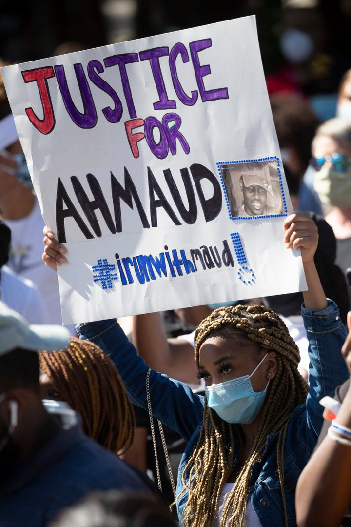 Demonstrators gathered in Brunswick, Georgia, on May 8 to focus attention on and protest the shooting of Ahmaud Arbery on Feb