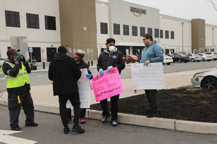 Amazon employees protest inadequate health and safety measures amid the coronavirus pandemic at the company's Staten Island d