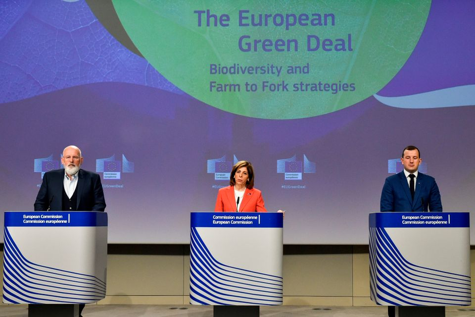 European Commissioners for European Green Deal Frans Timmermans, for Health Stella Kyriakides and for...