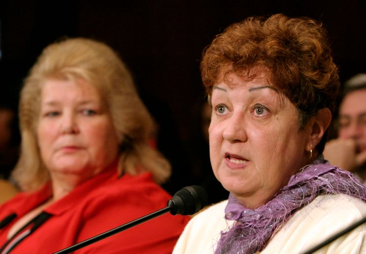 Norma McCorvey testifies before the Senate Judiciary Committee with Sandra Cano of Atlanta on June 23, 2005. Both women went