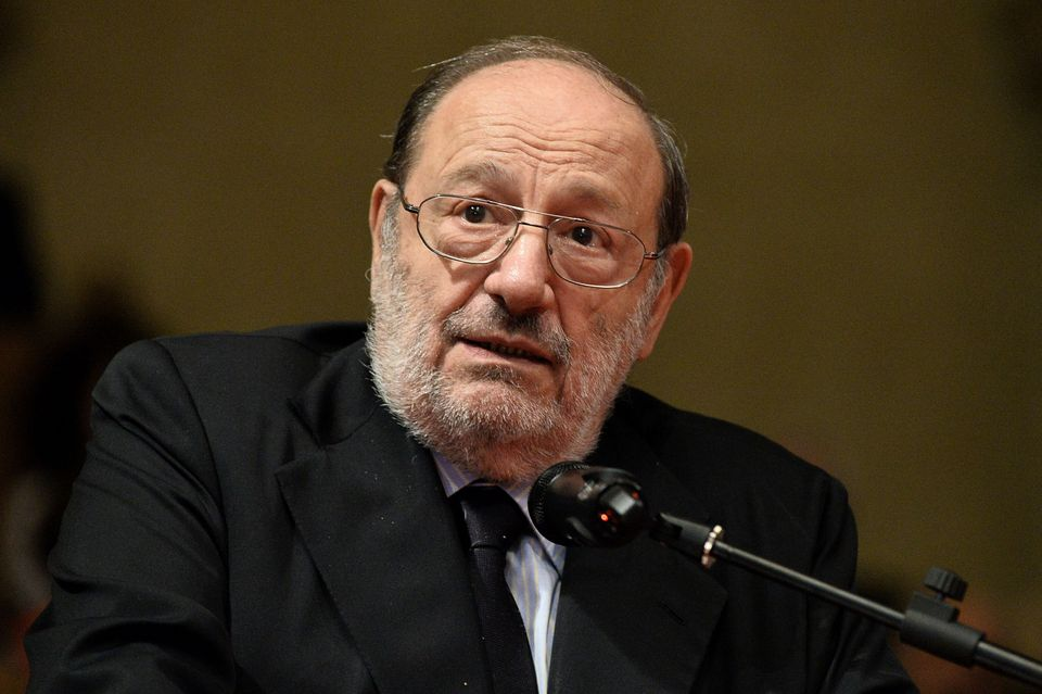 BOLOGNA, ITALY - JUNE 19: Italian author and literatus Umberto Eco holds his speech during the ceremony...