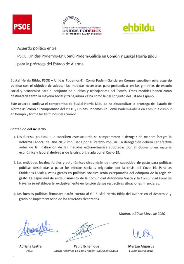 Acuerdo entre EH Bildu, PSOE y Unidas Podemos para la prórroga del estado de