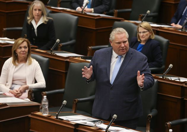 Ontario Premier Doug Ford speaks at Queen's Park in Toronto on May 20,