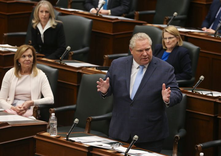 Ontario Premier Doug Ford speaks at Queen's Park in Toronto on May 20, 2020.
