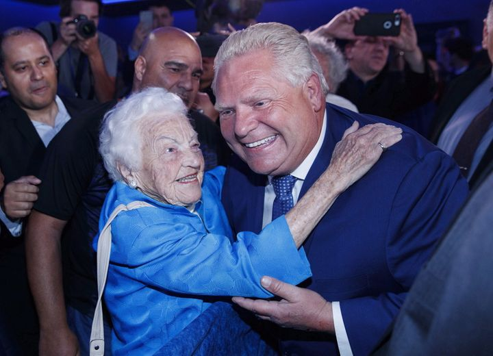 Ontario Premier Doug Ford is congratulated by former Mississauga mayor Hazel McCallion in Toronto after winning election on June 7, 2018.