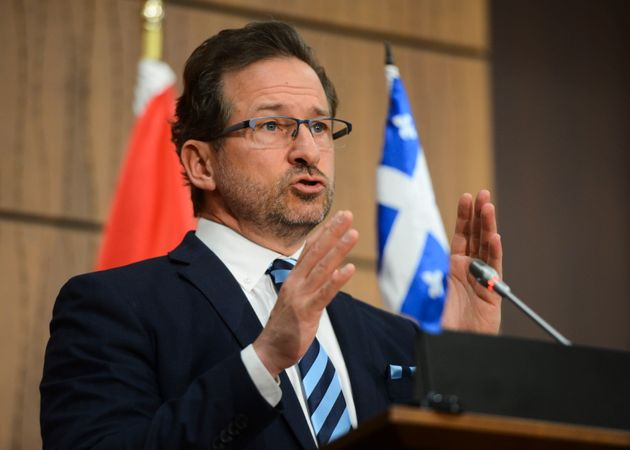 Bloc Quebecois leader Yves-Francois Blanchet speaks during a press conference on Parliament Hill during...