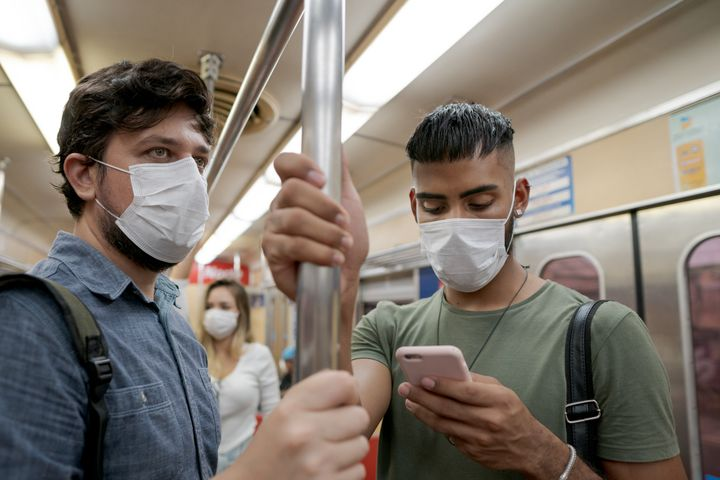 Officials recommend wearing a face mask when you can't practise physical distancing, such as on public transit.