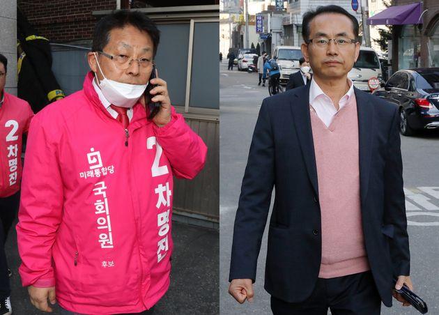 총선 당시 차명진 미래통합당 부천시병 후보(왼쪽)와 김대호 관악구갑