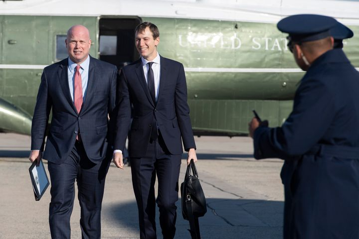 Matthew Whitaker walks with Jared Kushner at Andrews Air Force Base, Maryland, on December 7, 2018, as they accompany Donald
