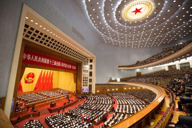 会場の人民大会堂(中国・北京)