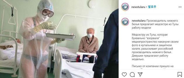 러시아의 한 간호사가 방호복 아래 비키니를 입고